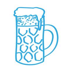 Handgezeichnetes Bierglas in blau