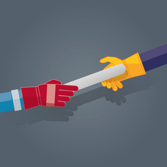 Vecteur plat simple représentant deux mains et gants industriel pour la course de relais aux couleurs personnalisables