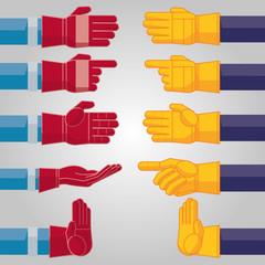 10 poses de deux gants industriels aux couleurs personnalisables (rouge et jaune) pour la création de concept design