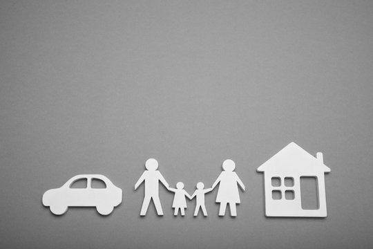 Family life, house, auto concept. Finance protect, broker. Copy space for text.