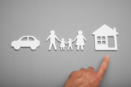 Protect home life concept, car, family.