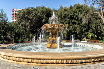 Beautiful fountain in the park of officers in the center of Baku. Azerbaijan
