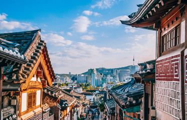 Aluminium Prints Seoul Bukchon Hanok Village, old traditional Korean house with tourist