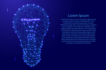 Glowing light bulb from polygonal blue lines and glowing stars for banner, poster, greeting card. Vector illustration.
