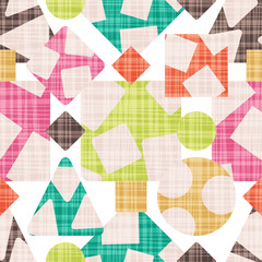 Cloth abstract print with geometric shapes. Vector illustration. Rhombus, square, triangle and circle design.