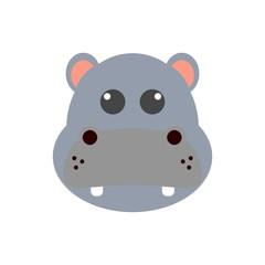 Cute hippo face icon