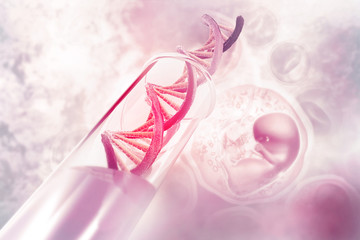 DNA cell on scientific background