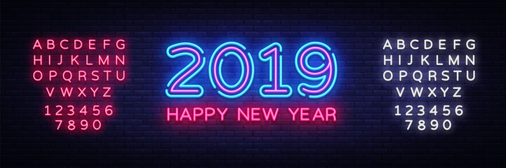 2019 Happy New Year Neon Text. 2019 New Year Design template for Seasonal Flyers and Greetings Card or Christmas themed invitations. Light Banner. Vector Illustration. Editing text neon sign Fototapete