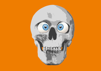 tête de mort - humour - regard - expression - yeux - crâne - humoristique - regarder - loucher - affiche
