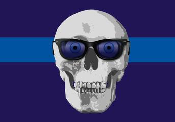 tête de mort - humour - lunettes - regard - expression - yeux - crâne - humoristique - concept
