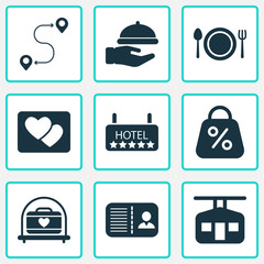 Journey icons set with route, transportation of suitcase, picture and other sale  elements. Isolated vector illustration journey icons.