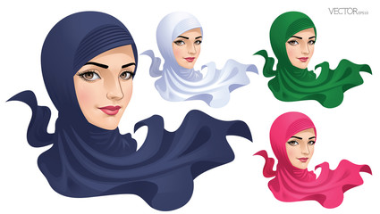 Muslim Woman in Hijab_Vector Illustration EPS 10