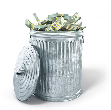 Trash can full of money isolated on a white background