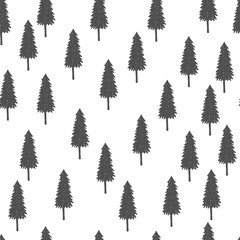 Simple vector pattern with christmas trees. Seasonal hand drawn print. Decorative illustration.