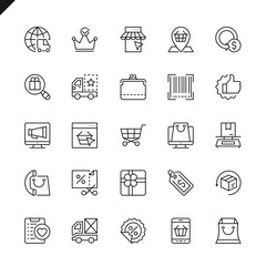 Thin line e-commerce, online shopping and delivery elements icons set for website and mobile site and apps. Outline icons design. 48x48 Pixel Perfect. Linear pictogram pack. Vector illustration.