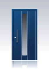 Moderne blaue Vektor Haustür mit Glasauschnitt und Edelstahlapplikationen