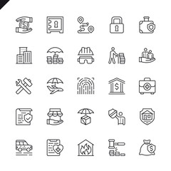 Thin line insurance elements icons set for website and mobile site and apps. Outline icons design. 48x48 Pixel Perfect. Linear pictogram pack. Vector illustration.