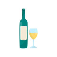 Green bottle of wine and glass. Delicious alcoholic drink. Traditional Croatian beverage. Flat vector element for cafe or restaurant menu