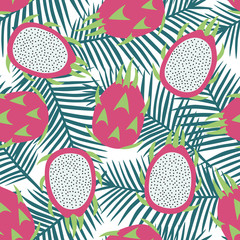 sweet whole dragon fruit and cut dragon fruit tropical exotic fruit pink with seeds pitaya on blue palm leaves background summer seamless pattern vector