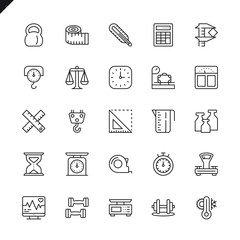 Thin line measuring, measure elements icons set for website and mobile site and apps. Outline icons design. 48x48 Pixel Perfect. Linear pictogram pack. Vector illustration.