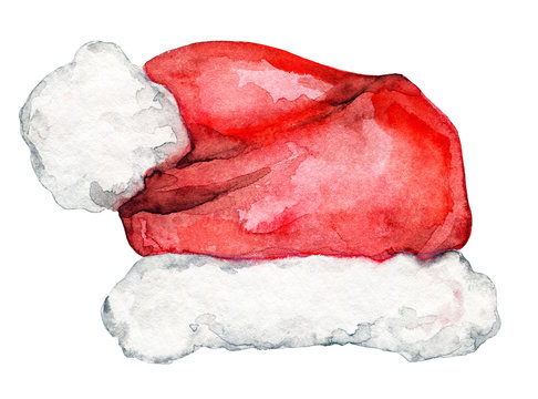 Christmas Santa Claus red hat isolated on white background. Watercolor hand drawn illustration