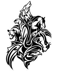 wild animal world spirits black and white vector design