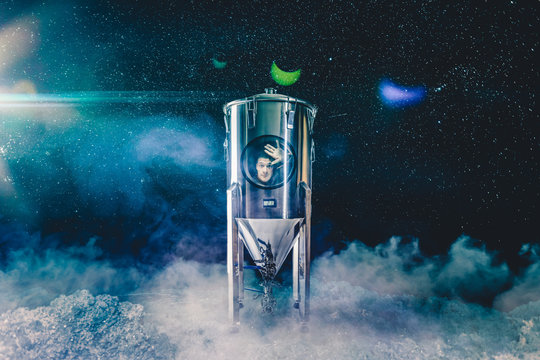 Space Traveling Man into a Rocket Fermenter on an Other Planet
