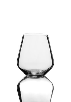 Empty Stemless Wine Glass Bowl and Reflection Isolated on White