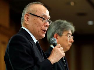 Tetsuo Yukioka, Managing Director of Tokyo Medical University and Keisuke Miyazawa, Vice-President of Tokyo Medical University, attend a news conference in Tokyo