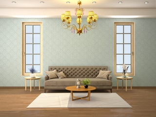 design of a living room with a sofa and two windows. 3d illustration