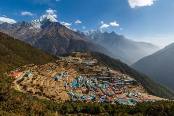 The village of Namche Bazar. Nepal.