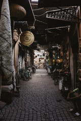 Old town alley with flea market stalls