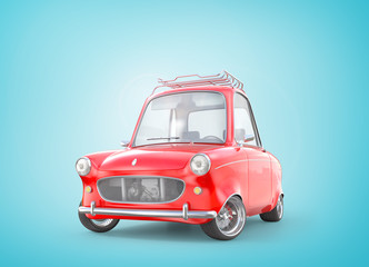 Red retro car. 3d illustration