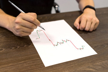 Man sitting at table and holds pen in his hand. There are sheet of paper with a trading chart on the table. Concept photo.