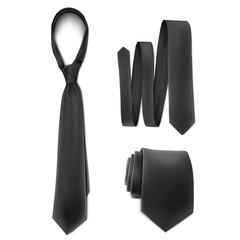 Vector. Mock Up. Black Set Necktie