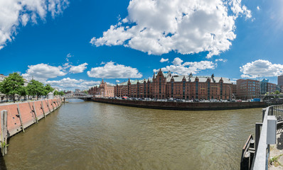 Warehouse district of Hamburg (Speicherstadt). Panorama.