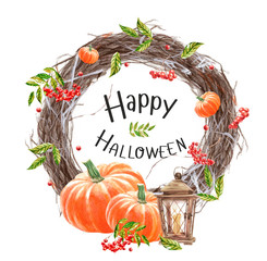 """Happy Halloween, autumn watercolor frames or cards for the holiday """"halloween"""" with a pumpkin, a wreath and a crow, illustrations of objects for posters with the inscription """"trick or treat"""""""