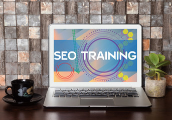 SEO Training Concept on Laptop Screen