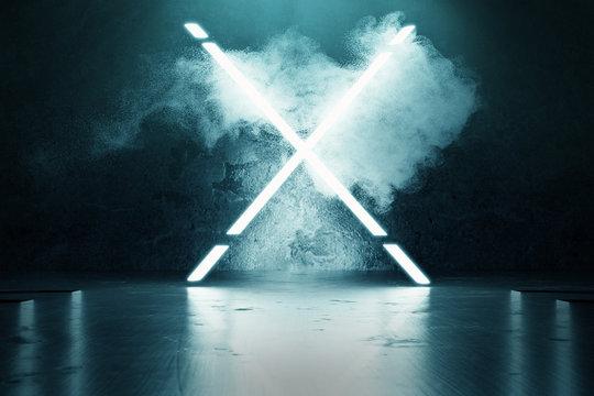 3d rendering of blue lighten X alphabet shape in front of grunge wall background