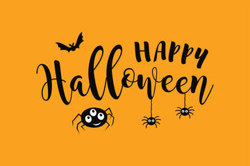 PrintHappy Halloween vector text banner with spider and bat.