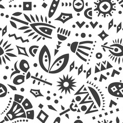 Vector seamless pattern of black cut out flowers and geometric shapes.