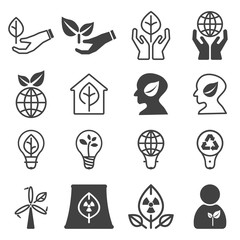 Conservation ecology icon set. Vector illustration