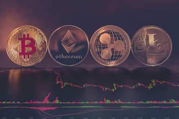 Bitcoin, Ethereum, Ripple and Litecoin cryptocurency exchange or stock market concept with charts and graphs