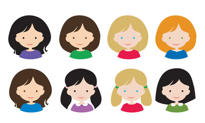 Set flat design of simple avatars female head with different hair styles and hair color, isolated on white background