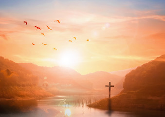 The concept of salvation:The Cross symbol of christian and Jesus Christ Wall mural