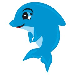 Vector cartoon dolphin