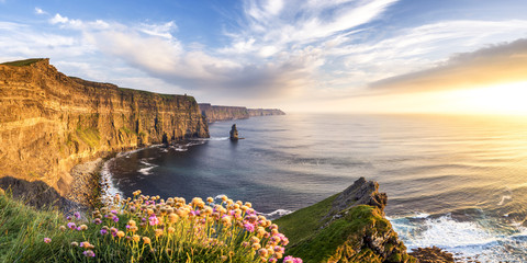 Sunset at Cliffs of Moher, County Clare, Munster province, Republic of Ireland, Europe.