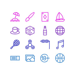 Vector illustration of 16 entertainment icons line style. Editable set of tennis, playing card, ticket and other icon elements.