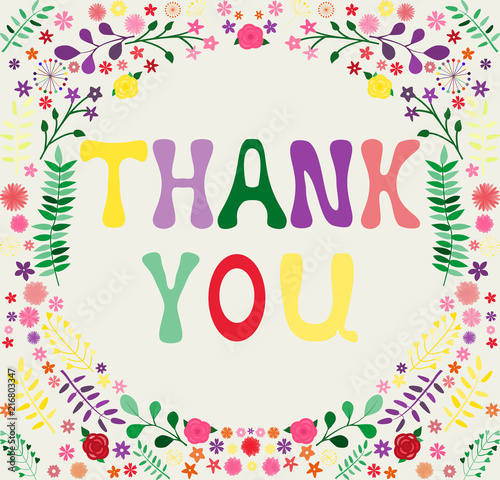 Frame Of Flowers Leaves And Branches Colored Letters Thank You For