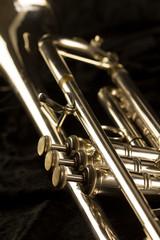 Detailansicht einer goldenen Trompete